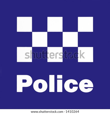 Police Station Sign - White On Blue - stock photo