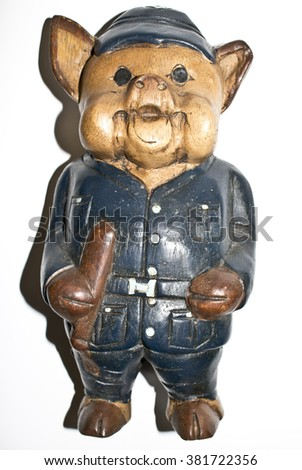Police Toy Pig Figure - stock photo