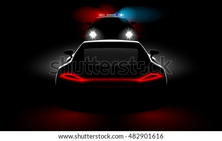 police vehicle detain violators in the dark with the headlights and taillights