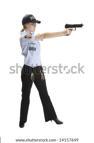 Police woman aiming gun on white background