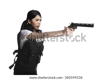 Police woman hold revolver gun isolated over white background - stock photo