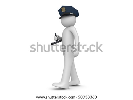 Policeman (3d characters isolated on white background series) - stock photo