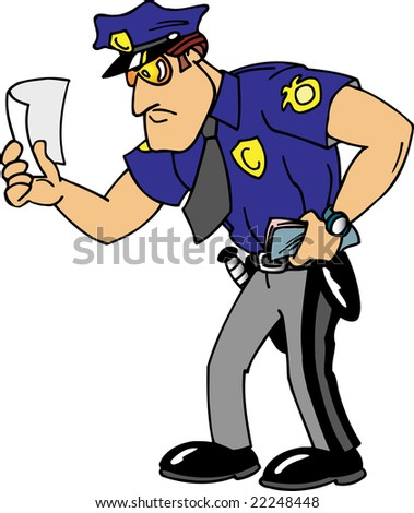 Policeman Giving Ticket - stock photo