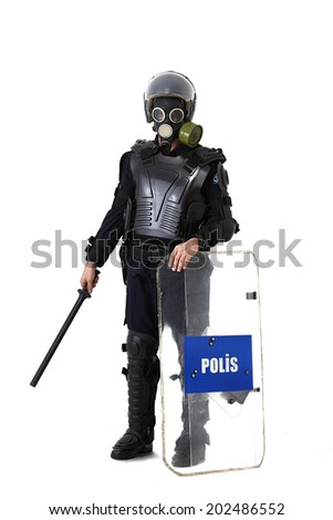 policeman isolated - stock photo