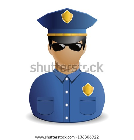 Policeman or police officer avatar - icon isolated on white background - stock photo