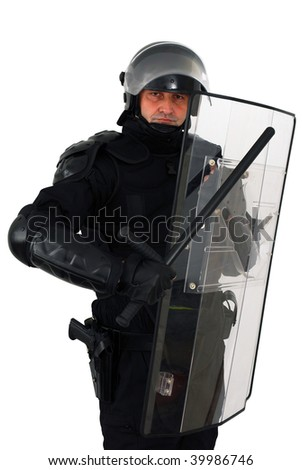 policeman with full equipment for anti-riot