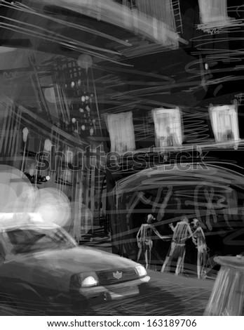 polices arrest criminal scene at night illustration - stock photo