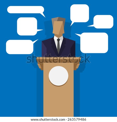 policies behind the podium with speech bubbles - stock photo