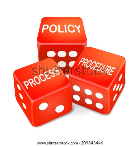 policy process procedure words on three red dice over white background - stock photo