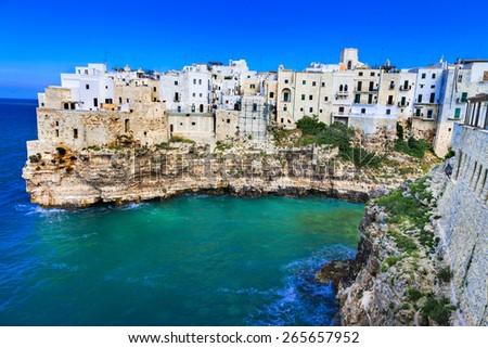 Polignano al mare - beautiful  village in rocks in Puglia, Italy - stock photo