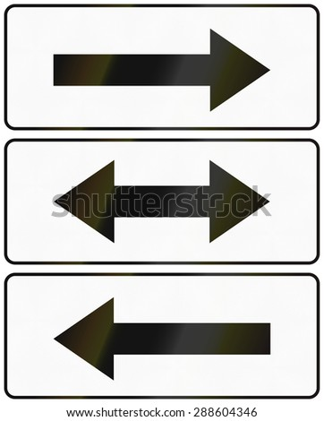 Polish arrow signs used as additional panels in traffic signs. - stock photo