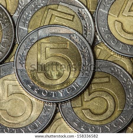polish coin - 5 Zloty (PLN)  - stock photo