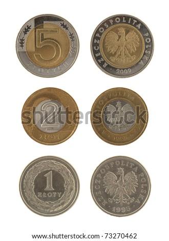 Polish Coins Isolated on White - stock photo
