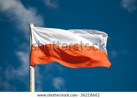 Polish flag against blue sky - stock photo