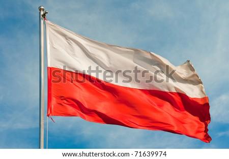 polish flag on a pole over beautiful sky - stock photo