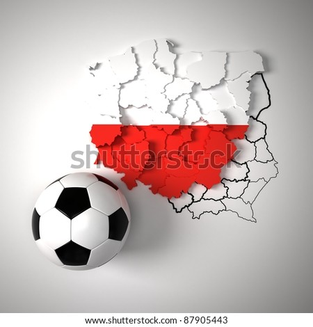 Polish flag on map of Poland with state borders - stock photo