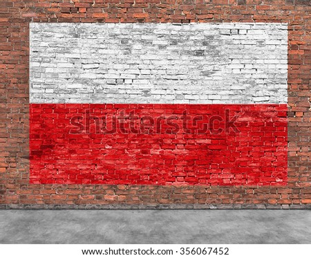 Polish flag painted on old brick wall - stock photo