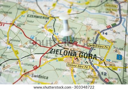 Polish map with marked Zielona Gora city - stock photo