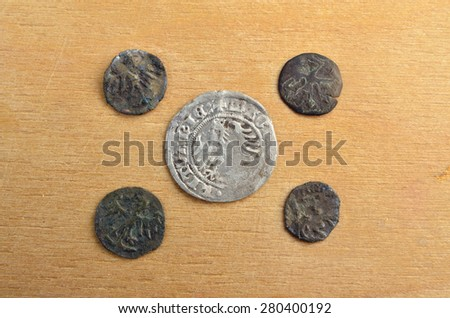 Polish medieval old silver Grosh and four Boratynka - stock photo