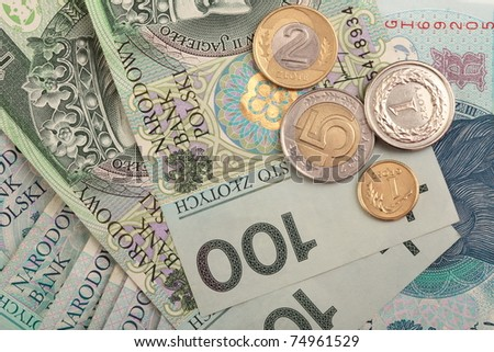 Polish money background, bill earnings - stock photo