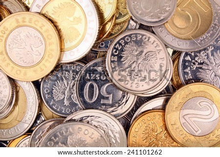 Polish money coins for background - stock photo