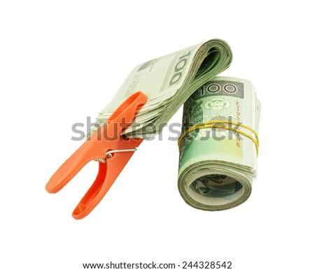 Polish money with laundry clip (isolated) - stock photo