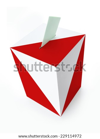 Polish red and white ballot box with voting card on white background - stock photo