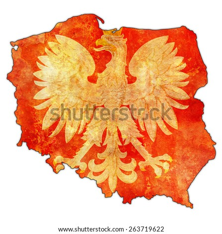 polish regions on administration map of poland with flag - stock photo