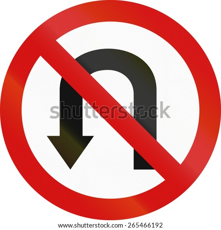 Polish regulatory sign - no U-turn. - stock photo