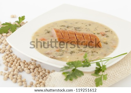 Polish soup with dry pea on white background