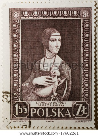 Polish stamp with Leonardo da Vinci picture