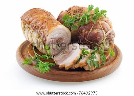 Polish style roasted bacon isolated on white background - stock photo