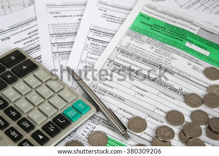 Polish tax form PIT-36 with other attachments for personal income tax purpose (for individuals engaged in business). - stock photo
