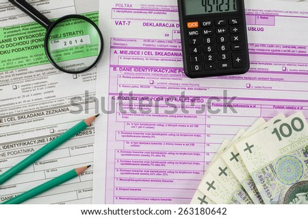 Polish tax form with business tools - stock photo