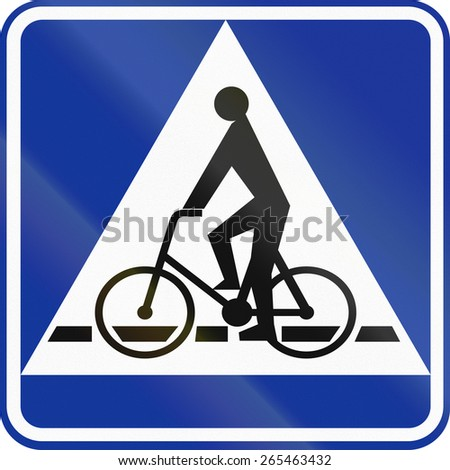Polish traffic sign: Bicyclle crossing (give way).