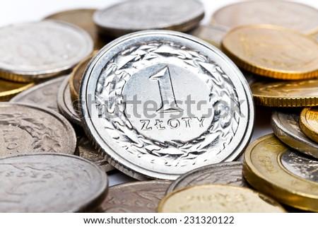 Polish zloty coins - stock photo