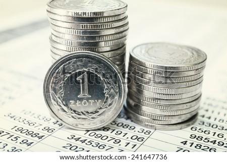 Polish zloty coins, close up - stock photo