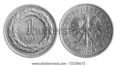 Polish zloty coins isolated over white background - stock photo