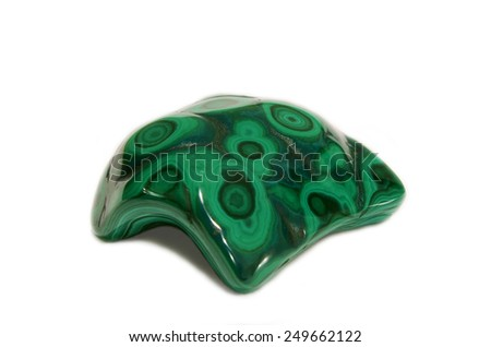 Polished botryoidal Chrysocolla Malachite display specimen, green african stone, soft focus - stock photo