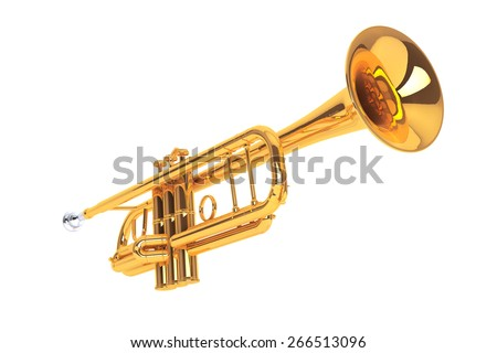 Polished Brass Trumpet on a white background - stock photo