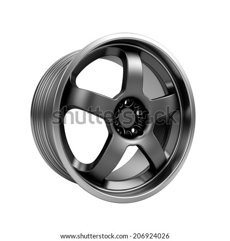 Polished chrome car rim wheel on white