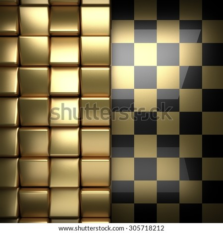 polished golden and black background - stock photo