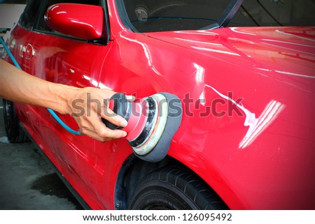Polished red car - stock photo