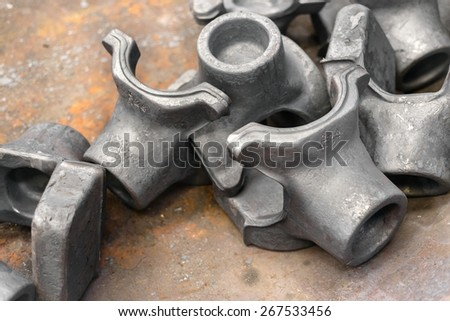 Polished steel products in metal industry closeup - stock photo