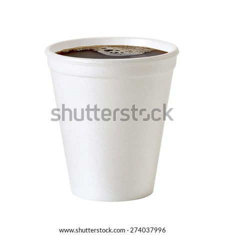 Polistren foam coffee cup on white background including clipping path - stock photo
