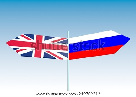 politic problem between russia and united kingdom relative background. road sign arrows with national flags