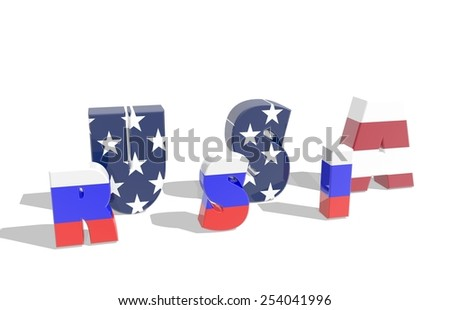 politic relations between russia and usa relative background. text usa inside russia word - stock photo