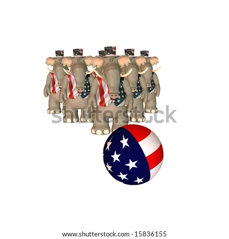Political Bowling - Republican Bowling ball heading towards a group of elephants. Political humor - stock photo