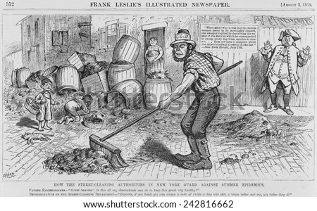 Political cartoon protesting the ineffective methods of the New York City Street cleaning. Caricature of an Irish street cleaner, who was expected to sweep clean a mile of street in one working day.