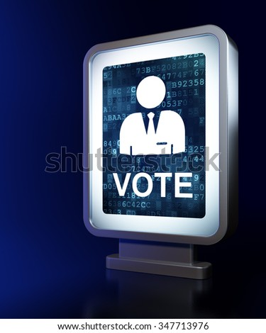 Political concept: Ballot on advertising billboard background, 3d render - stock photo